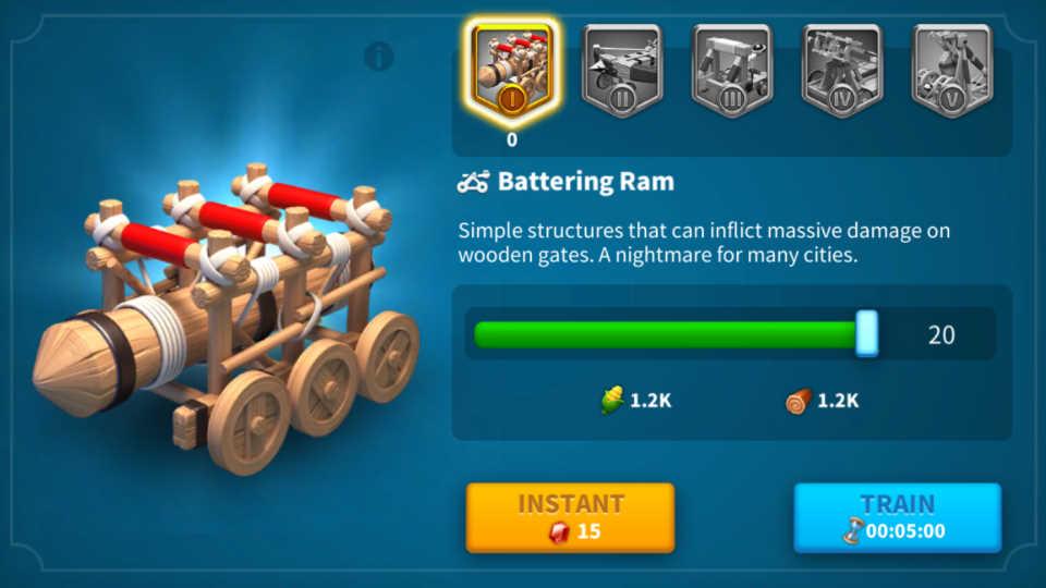 Train Siege Unit Tier 1 Rise of Kingdoms