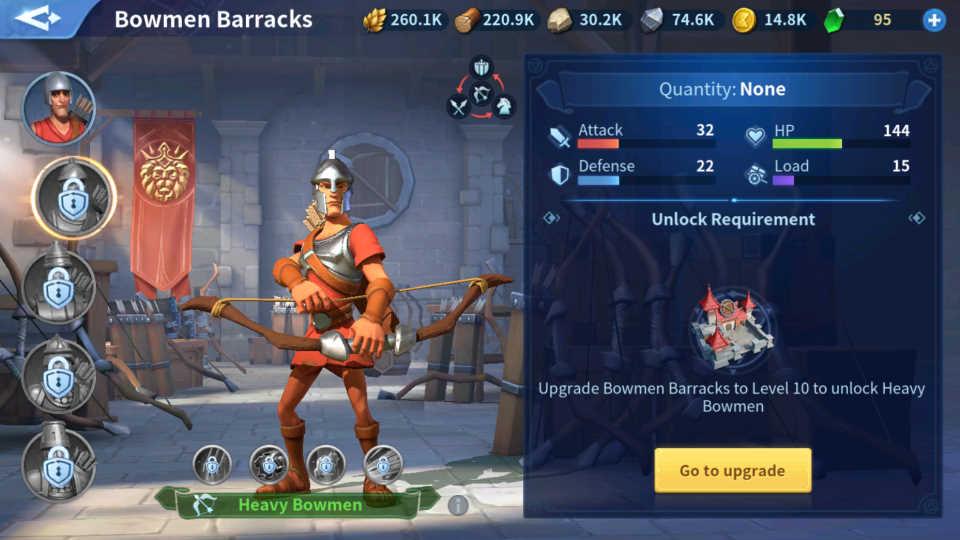 Heavy Bowmen Troops Infinity Kingdom Guide
