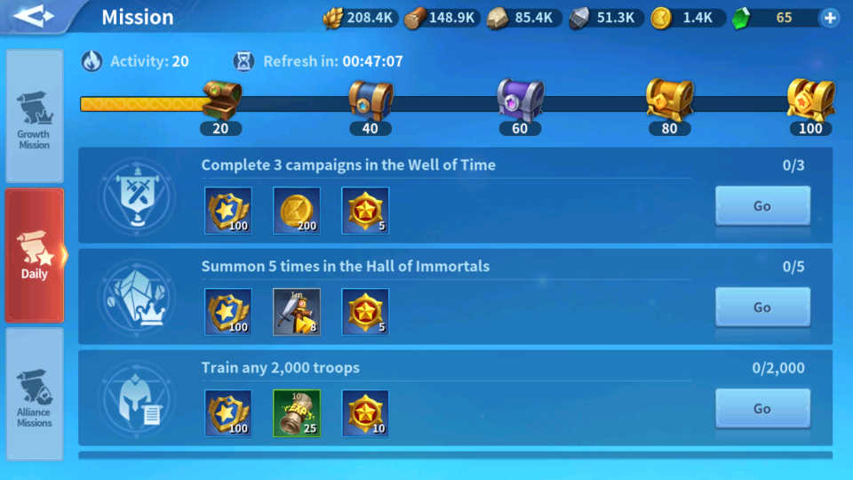 Increase Lord Level Daily Missions Infinity Kingdom