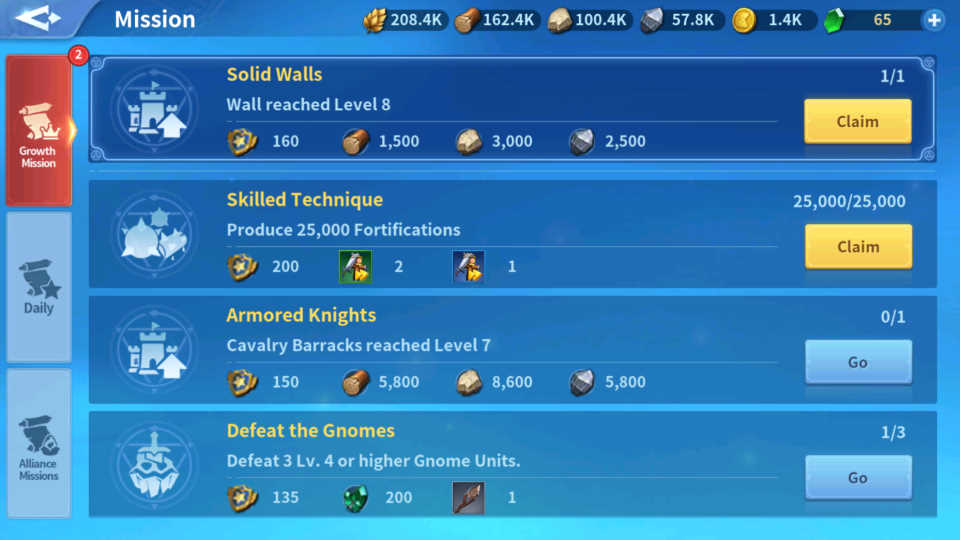 Increase Lord Level Growth Mission Infinity Kingdom