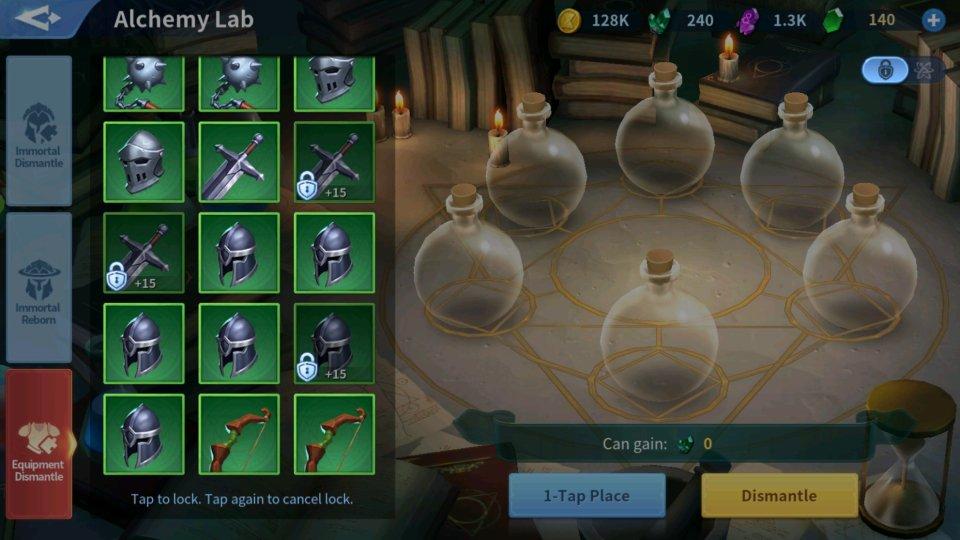 Equipment Dismantle Alchemy Lab Infinity Kingdom Guide
